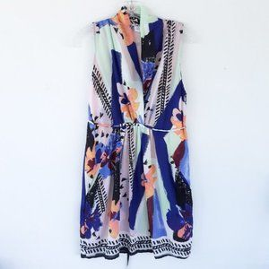 Bar III L Abstract Print Wrap Sleeveless Dress